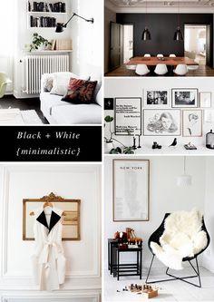 black + white minimalistic board by Rachel @Hopscotch & Grace - Eames, fur, gallery wall, art, prints, gold mirror, black walls, white living room, dining room