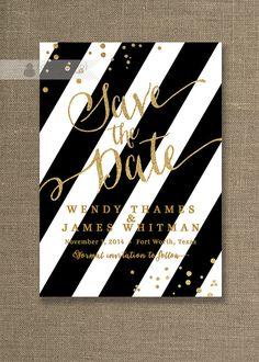 Gold Glitter Save the Date Invitation Black & White Stripe with gold glitter look confetti and gold script by digibuddhaPaperie, $20.00