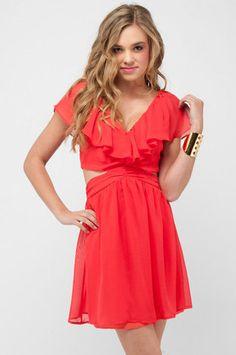 Ruffled Cutout Dress in Coral Red $82 at www.tobi.com