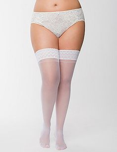 Vintage-inspired elegance makes a comeback with our thigh-highs featuring a sultry back seam. Scalloped lace tops are backed with adhesive strips for a non-slip, secure fit that's just right with your favorite garter skirts.  #LaneBryant #Cacique