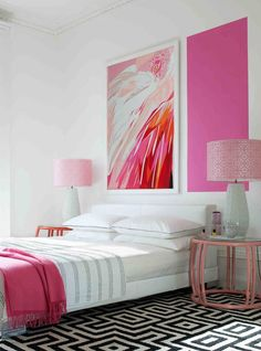 mid-century. miami-inspired | pink + geometric rug + white platform bed