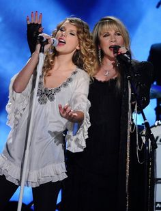 Taylor Swift and Stevie Nicks perform on the 52nd Annual GRAMMY Awards on Jan. 31 at Staples Center in Los Angeles