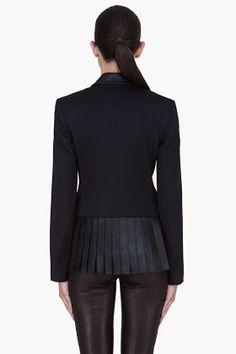 ALEXANDER WANG Black Pleated Leather Trim Blazer (great back detail)