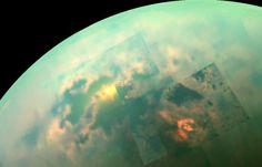 In this near-infrared mosaic, the sun shines off of the seas on Saturn's moon, Titan. Credit: NASA/JPL-Caltech/University of Arizona/University of Idaho