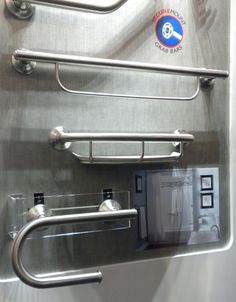 Whole House: more examples of different safety bars for bathroom, from KBIS 2011 Moen. Use vertical and horizontal bars.