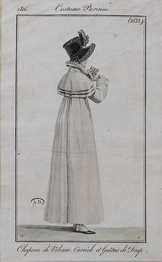 1816 Costume Parisien. Hat of velvet. Carrick (caped overcoat) and gaiters (boots?) of wool.