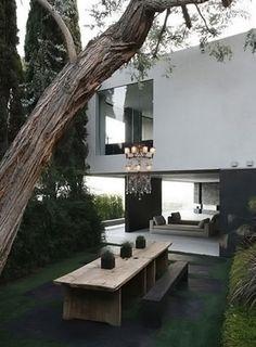 outdoor chandelier, modern home, indoor/outdoor spaces