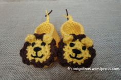 Lion booties. lion booti, crochet projects, slipper, babi booti, crochet baby booties, lions, lion babi, animal crafts, crochet patterns