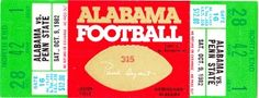Alabama football art made from an authentic Alabama football ticket from 1982. This Alabama vs. Penn State football ticket makes perfect canvas Alabama football art for a game room or office!$274.99