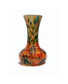 Hand Painted Glass Vase Sunflower Botanical Home by SylwiaGlassArt, $135.00