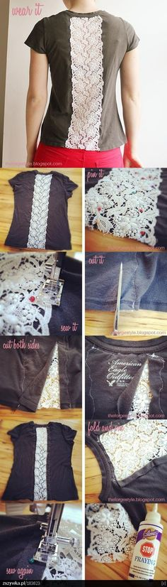 DIY: Insert vintage lace in t-shirt