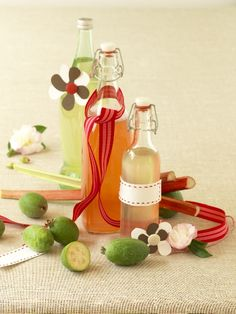 Feijoa and rhubarb cordials