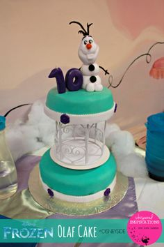 Our #Olaf #Cake from our #DisneySide at Home Celebration Party! Check out our party and have one of your own! #baking #cakes #olafcake