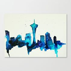 Like the water color skyline idea