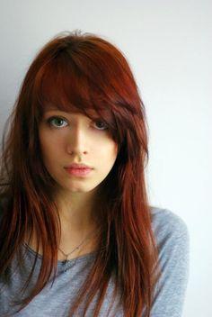 auburn hair, hair colors, red hair, wavy hair, long hair, side bangs, hair bangs, hairstyl, fring