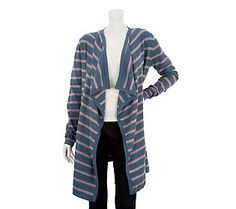 LOGO by Lori Goldstein Striped Cascade Front Cardigan