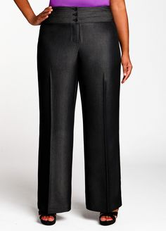 Ashley Stewart: Luxe Pleated Dress Pant - The pleats start low enough that they could be super flattering
