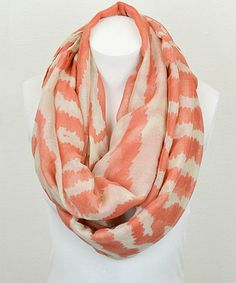 Loving this Peach & Natural Abstract Stripe Infinity Scarf on #zulily! #zulilyfinds