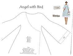 Boneca Tilda Angel with Bird com PAP(DIY) e moldes