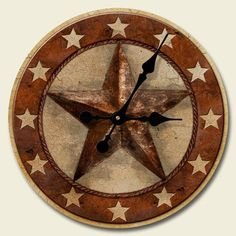 New WESTERN STAR WALL CLOCK Barn Red Paisley Black Print RUSTIC Decor Accent ART by Highland Graphics, http://www.amazon.com/dp/B008DVOFEK/ref=cm_sw_r_pi_dp_d8iZrb0WSKHEW