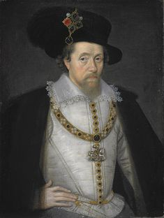James VI (Scotland) and I (England) is the son of Mary, Queen of Scots and Henry Stuart, Lord Darnley. Born 1566 in Edinburgh Castle, Edinburgh Scotland d.  27 March 1625, Herefordshire, England.  His ascension to the English throne in 1603 ends the reigning House of Tudor and begins the ruling House of Stewart (Stuart).