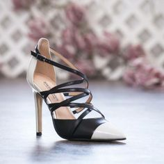 Fabulous black and white pointed toe criss cross strap heels @townshoes Find it here: http://townshoes.com/brands/town/womens/?p=5