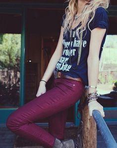 navy blue tee & maroon pants