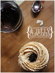 Cupcake Rehab - Peanut butter & jelly cupcakes! #peanutbutter #jelly #cupcakes