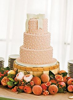 sweet peach #wedding cake with a bow | Kate Headley