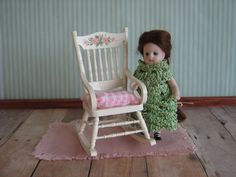 Dollhouse Miniature Hand Painted Rocking Chair in One by TheToyBox, $20.00