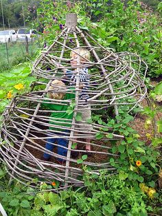 Oh good, I've been looking for a trap big enough for those pesky kids that keep getting into my garden...    I realize this is a playhouse structure, I just couldn't help myself.