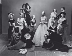 May 1947. Photographed by Irving Penn for Vogue.  From left, seated: Marilyn Ambrose, Dana Jenney; standing, left to right: Meg Mundy, Helen Bennett, Lisa Fonssagrives; background: Betty McLauchlen; foreground: Dorian Leigh; seated: Andrea Johnson; standing, left to right: Lily Carlson, Elizabeth Gibbons, Kay Hernan; background: Muriel Maxwell