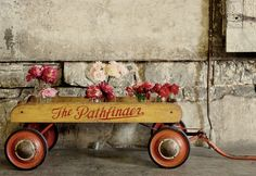 Vintage wagon with flowers