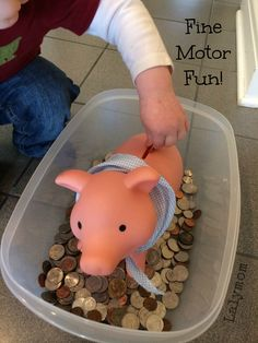 Piggy Bank Coins Sensory Bin for Toddlers Using Real Money from Lalymom