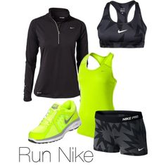 Love neon yellow!! Nike workout clothes ♥
