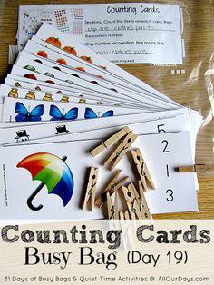 card busi, preschool activity bags, preschool math, counting cards, bag inspir, busi bag, preschool quiet activities, count card, kid