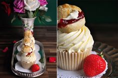 Strawberries and Cream Scone Cupcake Recipe!