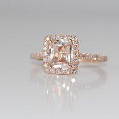 Peach sapphire in rose gold.