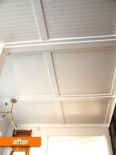 DIY ceiling covered in white beadboard and trim