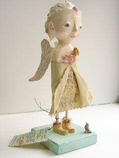 Original Sculpture, Art doll, Bird Saint