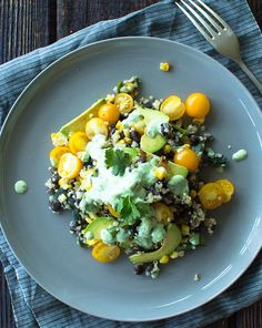 Grilled Corn Black Beans and Quinoa With Cilantro Lime Dressing