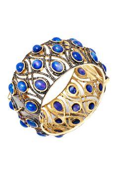 Blue Opal & Champagne Diamond Bangle - 6.95 ctw