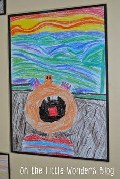 the scream, art project, wonder blog, classroom snap
