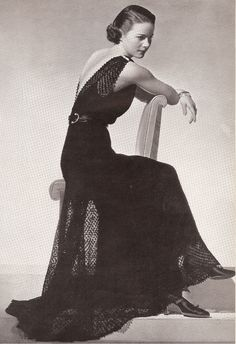 vintage knitting, fashion, knitting patterns, gown dress, dresses, evening gowns, crochet patterns, 1930, evenings