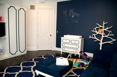 Modern Navy Playroom with Chalkboard Wall - plus, I spy @My Overlays by Danika  Cheryle giving a polished, preppy look! #playroom