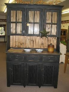 black distressed furniture, dining room hutch, cabin kitchen, black primitive furniture, primit furnitur, countri, black furniture, primitive decor, decor idea