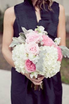 Pretty bouquet: Pink roses. dusty miller. hypericum berries. white hydrangea. Picture this BIG for your altar. Less pink though?