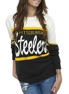 NFL Pittsburgh Steelers Unisex Throwback Intarsia Sweater - Men's Collections - NFL - Pittsburgh Steelers - Junk Food Clothing