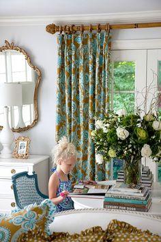 curtains, decorating blogs, color combos, color blue, curtain rods