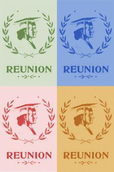 class reunion, reunion invit, reunion 74, art class, reunion decor
